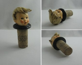 Porcelain bottle stopper BOY. Probably Goebel / M.J. Hummel. Bottle cork bottle stopper bottle cork. VINTAGE