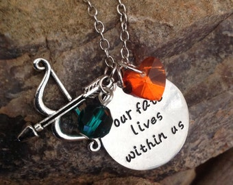 "Merida ""Our fate lives within us""...stamped necklace"