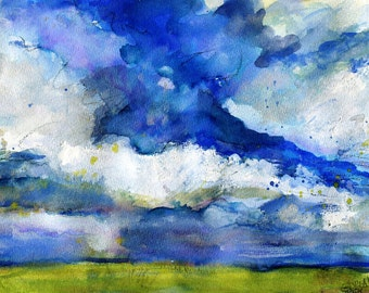 Giclee of Clouds and Blue Sky over the Plains