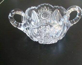 Vintage Brilliant Cut Crystal Glass Sugar Bowl