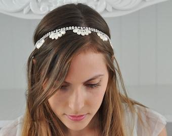 Bridal Rhinestone & Pearl Headband , Wedding Pearls Tiara