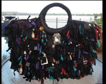 Black Fringe Purse,short fringe Bag,Rhinestones,Jewels,Beaded bag,upcycled,funky handbag,one of a kind,custom made