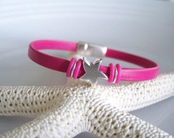 Bright Pink Leather Starfish Focal Bracelet - Item R3234