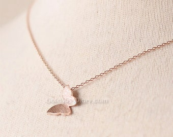 Rose Gold Butterfly Necklace / Gift for her / Handmade necklace / ButterFly charm / ButterFly pendant necklace