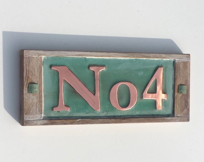 "Serif font House plaque 3""/75, 4""/100mm high  in copper with oak frame, 1 x number . 'No' is fixed g"