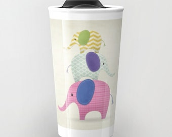 Balancing Act, Stackable, Elephants, Travel Mug, Tumbler
