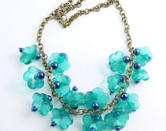 Glass Teal Colored Flowers with Dark Blue Beaded Brass Necklace