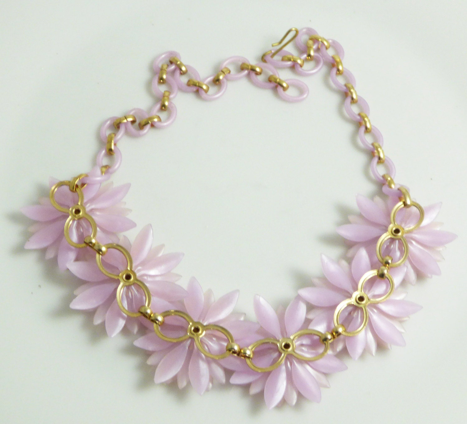 Vintage Coro Soft Plastic Flower Necklace AB By