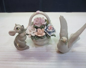 Three Adorable Little Knicknacks, Flower Basket Standing Mouse And Dove