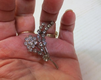 1940's Signed Austria Crystal Floral Brooch Pin