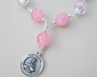 Pink Rosary Chaplet, Saint Agatha, Patron Saint of Breast Cancer, Prayer Beads, Rose Quartz, Gift for Her, Gift for Friend, Inspirational
