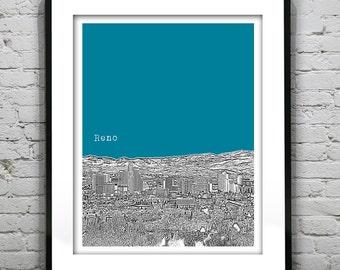 Reno Nevada Art Print Poster Skyline NV version 2