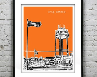Ship Bottom LBI New Jersey Shore Poster Print Art  NJ Skyline Long Beach Island Version 1