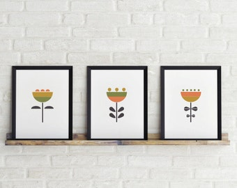 Set of 3 prints, 5 x 7 in, Flowers Prints, Mustard, Green, Orange & Grey, Printable Art, Scandinavian Print, Wall art, Instant Download