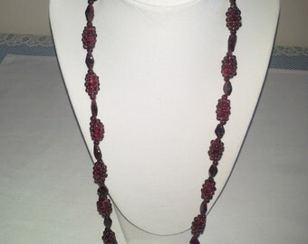 "Crafted Garnet Crystal Stone Necklace, 13"" Long"