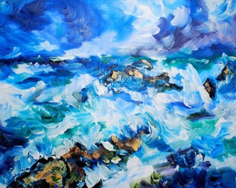 Oceanscape Splashing Waves Original 16 x 20 inch oil painting by BrandanC