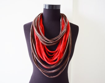 SALE! Fabric red and chocolate brown necklace neck ornament loop scarf round scarf tshirt necklace made from upcycled jersey