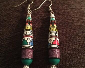 Southwest earrings, tribal earrings, tribal statement earrings, boho statement earrings