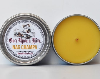 Nag Champa Beeswax Candle Tin | 4 oz. Candle | Natural | Travel Tin | Container Candle | Scented
