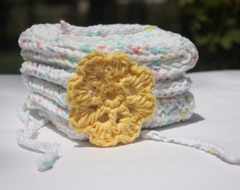 Cotton Crochet Washcloths - White Baby Washcloths - Baby Washcloth Set - Rainbow Baby Washcloths