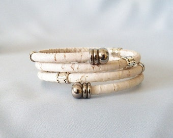 White Cork Wrap Bracelet