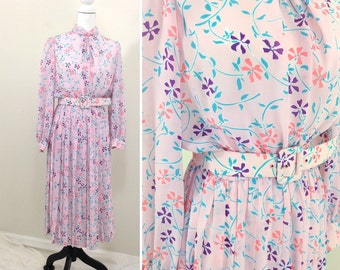 Vintage Pink Flower Pattern Pleated Belted Shirt Dress