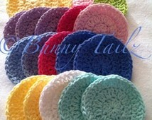 Cotton Face Scrub, Set of 4 Exfoliating Scrubby, READY TO SHIP Mint, Yellow, White, Royal Blue, Pink, Chartreuse, Purple, Rainbow