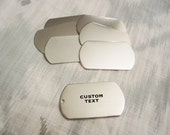 "Custom Silver Dog Tag - 28mm x 50mm (1-1/8"" x 2"") - Hand Stamped Dog Tag - BULK PRICING AVAILABLE"