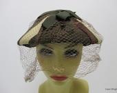1930s hat, Vintage 30s hat, 1930-40s hat, Brown vintage hat, Ladies vintage hat, Hat with veil, brown hat