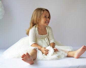 Ivory Girls Stretch Bolero. Crochet shrug for girls. Size 2T