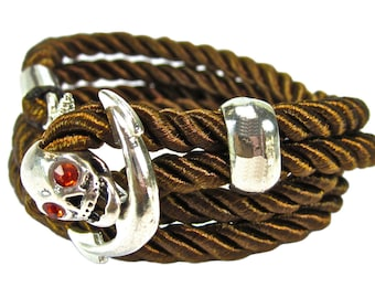 Geralin Gioielli Men's Handmade Skull Anchor Bracelet in Brown / Silver