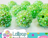 SALE 18mm LIME GREEN Rhinestone Beads Sparkly Pave Beads Bling Beads Bumpy Chunky Beads Resin Berry Beads Plastic Bubblegum Beads Gumball Be
