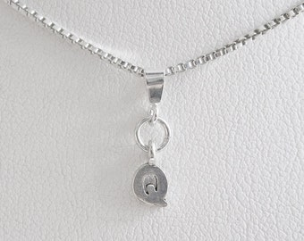 Initial Letter Q Mini Pendant Charm and Necklace