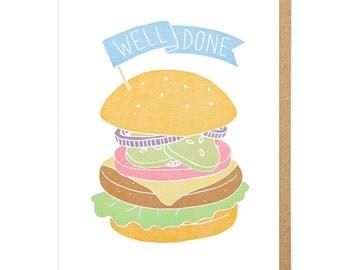 Well Done Burger Letterpress Card