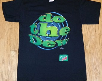 Vintage 90s Mountain Dew T-Shirt Do the Dew Soda Pop Deadstock NOS Fits L/XL