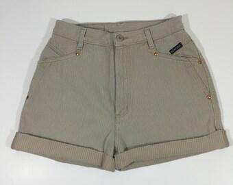 High waist Denim Shorts - Size 7 / 28 - High Waisted Jean Shorts - Cut Off Shorts - Pinstriped  - 90's Jean Shorts - 90's Denim - Grunge