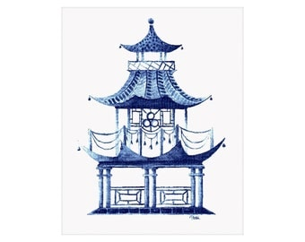 Blue Pagoda Watercolor Art Print