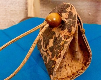 Handmade cork purse with stamp