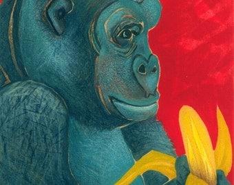 "Giclee Print- GORILLA Illustration- 5"" X 5""- Nursery, Kid's Room, Gentle Giant"
