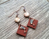 Exile- Recycled Leather & Howlite Coin Bead Copper Verdigris Nefertiti Charm Earrings