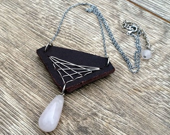 Give My Love to Rose- Recycled Leather Rose Quartz Teardrop Necklace