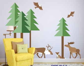 Beau Forest Wall Decals,Kids Animal Wall Stickers,Woodland Theme Wall Decals