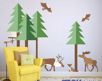 Gentil Forest Wall Decals,Kids Animal Wall Stickers,Woodland Theme Wall Decals