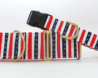 Three Cheers For That Red, White, And Blue Dog Collar (Martingale, Buckle or Tag)