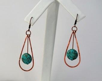 Hammered Copper Earrings w/Howlite Beads