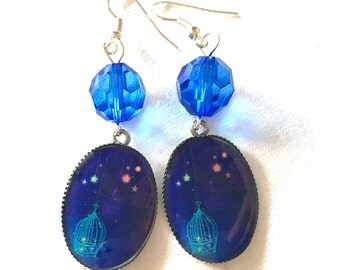 earrings night bird blue with bird cage picture