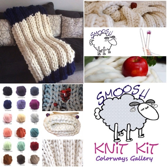"KNIT-KIT,PARFAIT BLanket Choice! Chunky Blanket, 24"" Needles,Chunky Yarn, Pattern"