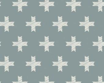 Unn Cross Silver in Woven, Heartland One Yard cut fabric - Art Gallery Fabrics, Pat Bravo,  plus, modern Southwest, blue, geometric