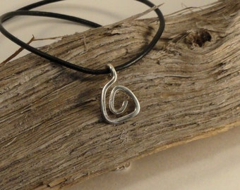 Atlantis / Sterling Silver / Long Chain / Leather Cord