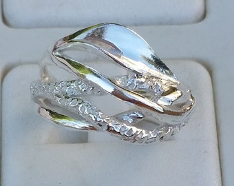 Silver Ring Sterling Silver 925 Handmade Artisan Crafted Size 8 Women Free Shipping